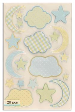 Martha Stewart Crafts Blue Cloud & Moon Stickers