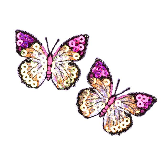 Small Butterfly Iron On Sequin Applique Purple