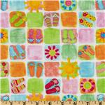 Timeless Treasures Flip Floppin Summer Fun Beach Patchwork White