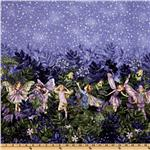 ER-107 Michael Miller Night Flower Fairies Double Border Stripe Nite Blue