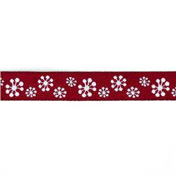 "5/8"" Sue Spargo Snowflakes Ribbon Red"