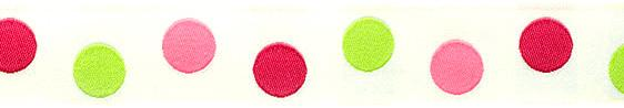 7/8&#39;&#39; Ribbon Dot White/Lime/Fuchsia