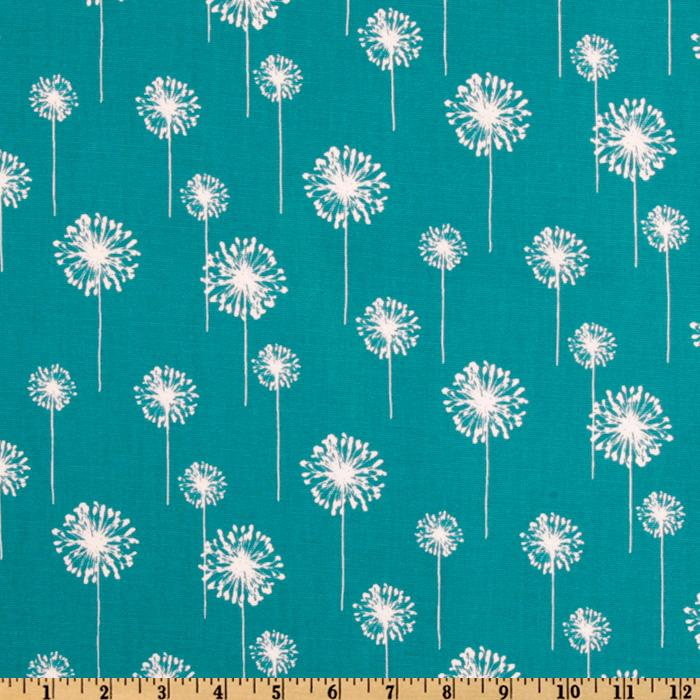 Premier Prints Small Dandelion Turquoise/White