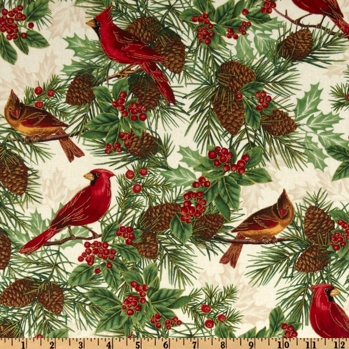 Timeless Treasures Season&#39;s Greetings Winter Cardinal Ivory