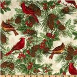 FD-072 Timeless Treasures Season's Greetings Winter Cardinal Ivory