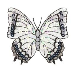 Large Butterfly Iron On Sequin Applique Silver