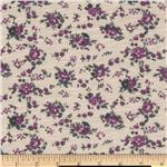 Stretch Polyester Slub Jersey Knit Floral Purple