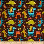 Michael Miller Interlock Knit Dino Dudes Brown