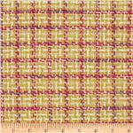 Wool Blend Coating Square Plaid Yellow/Hot Pink