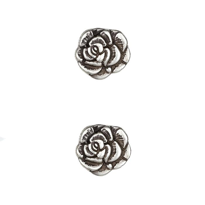 Metal Button 3/4&#39;&#39; Nambe Rose Antique Silver