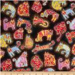 Laurel Burch Fabulous Felines Cats Black Metallic