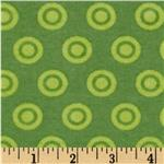 0271519 Alpine Flannel Basics Circle Dots Tonal Green
