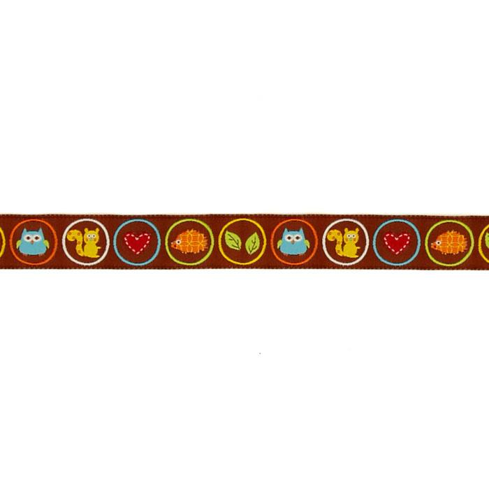 "7/8"" Dena Designs Woodland Creatures Ribbon Brown"