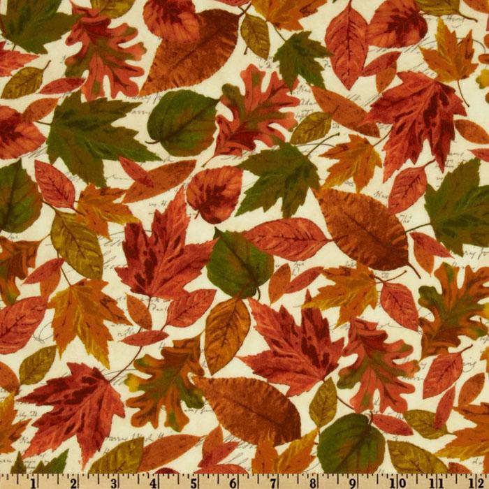 Timeless Treasures Cabin Fever Flannel Leaves Natural