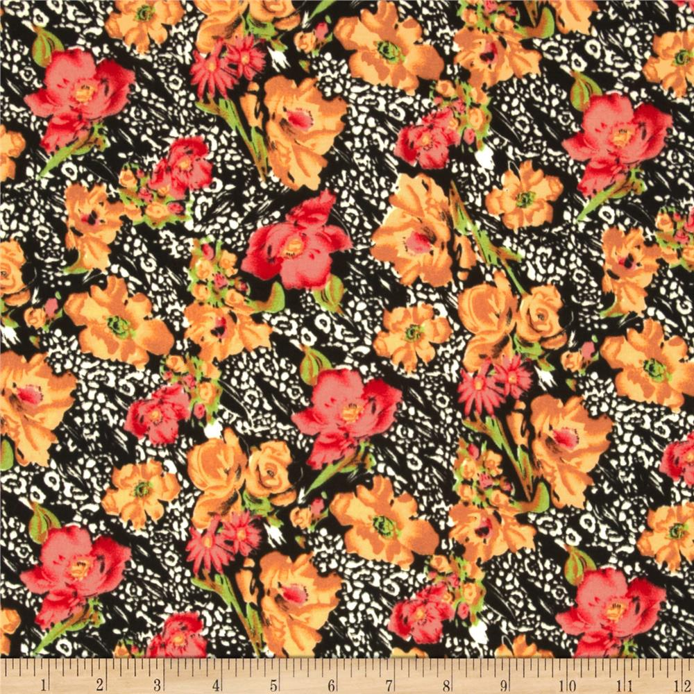 Jungle Safari Broadcloth Flowers Amber/Coral