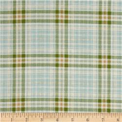 Nature's Etching Plaid Aqua/Green