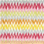 0268802 Blomma Ikat Chevron White