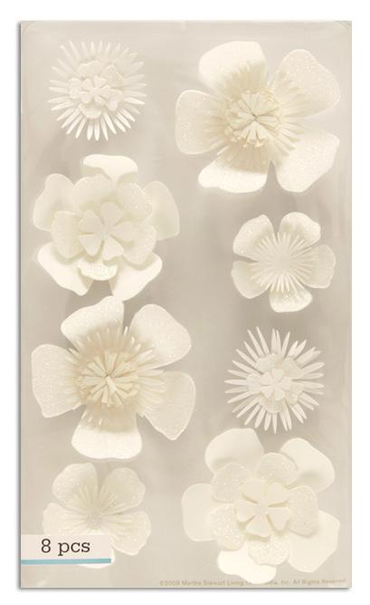 Martha Stewart Crafts 3 Dimensional Stickers Flowers White