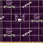 ET-397 Collegiate Cotton Broadcloth Kansas State University Plaid Purple