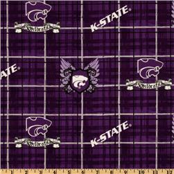 Collegiate Cotton Broadcloth Kansas State University Plaid Purple