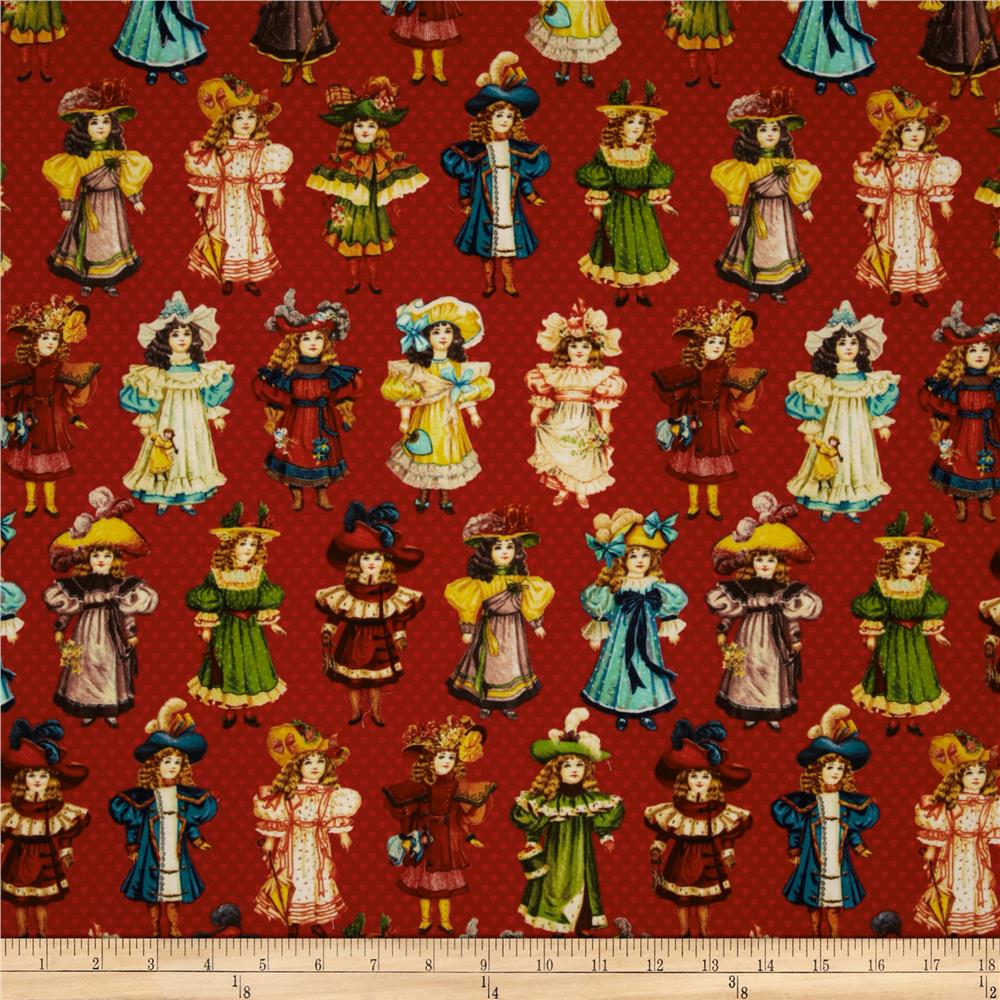 Victorian Paper Dolls Girls Red