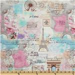 FR-565 Timeless Treasures April In Paris Collage Pastel