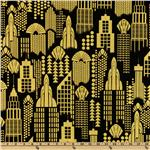 Timeless Treasures Lux Metallic Buildings Black