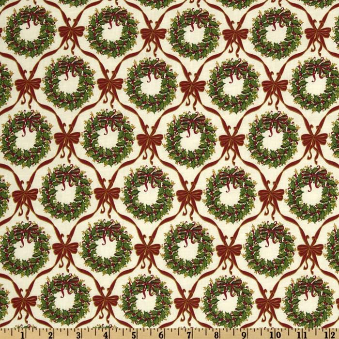 Merry Christmas Wreaths & Bows Green/Red