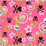 Premier Prints Stars & Bones Candy Pink/Black/Lime