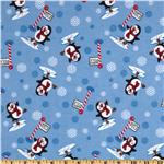 FT-546 Comfy Flannel Winter Penguin Blue