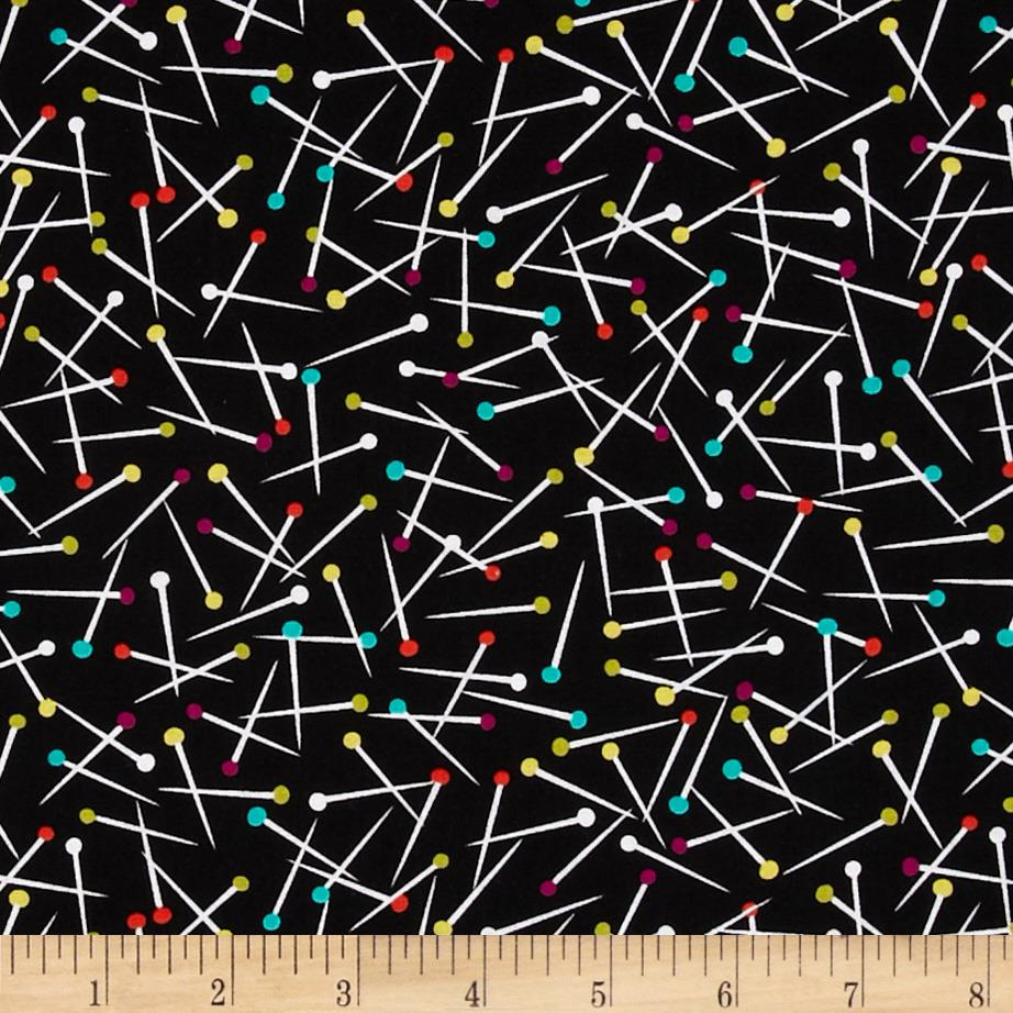 Michael Miller Love to Sew Pin Scatter Black