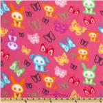0283540 Skeleton Animals Fleece Pink