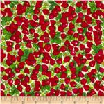 0280038 Strawberry Shortcake Flannel Tossed Strawberry Allover White/Red