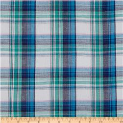 Cotton Gauze Yarn Dyed Shirting Plaid Blue