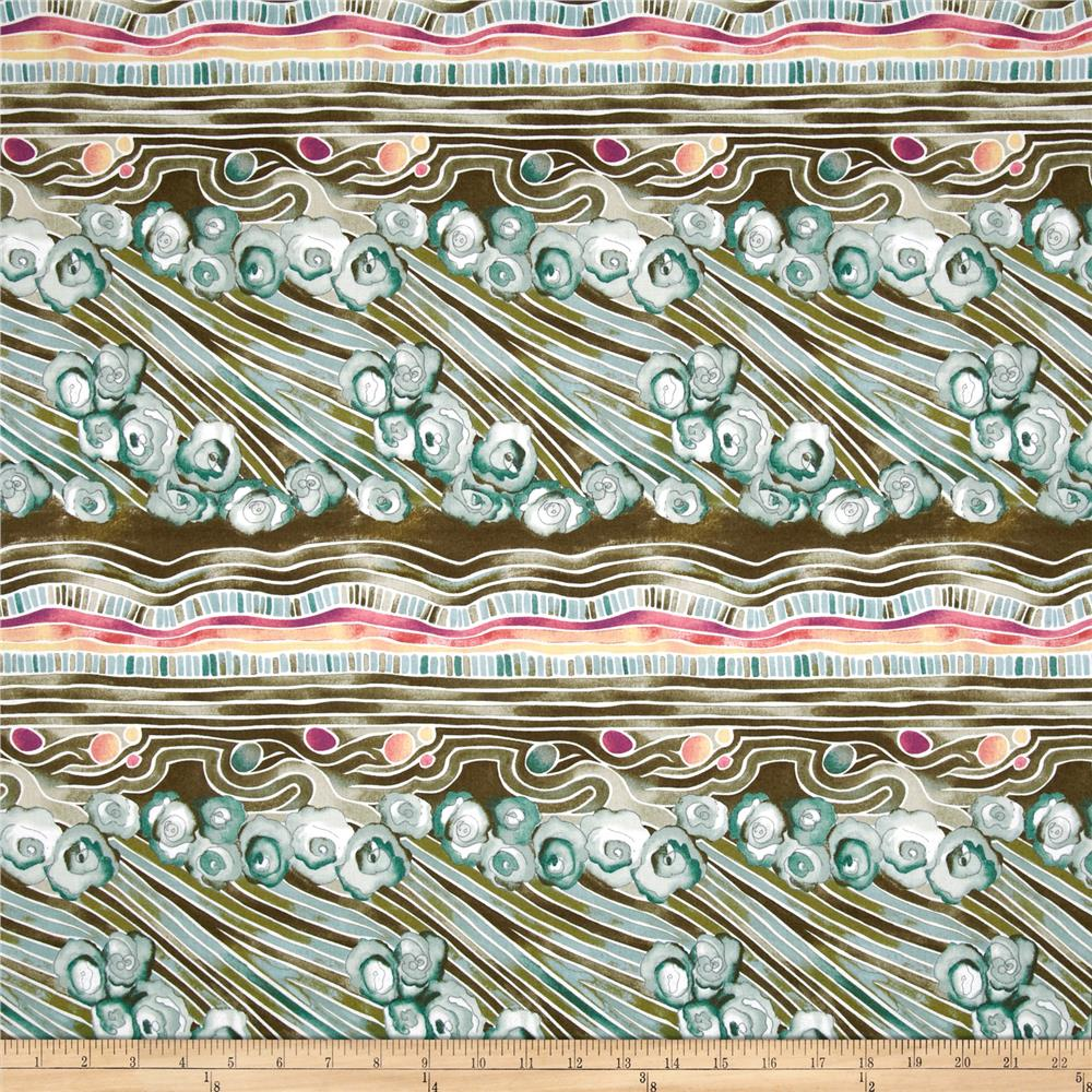 Garden Path Floral Repeating Stripe Olive/Teal