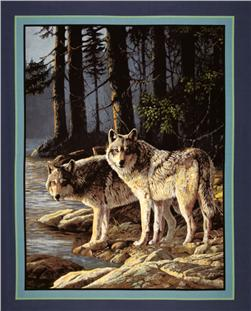 Wild Wings Pine Ridge Wolves Wall Hanging Panel Blue