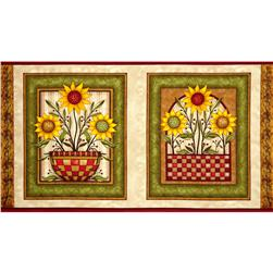 Sunflower Bouquet Panel Beige
