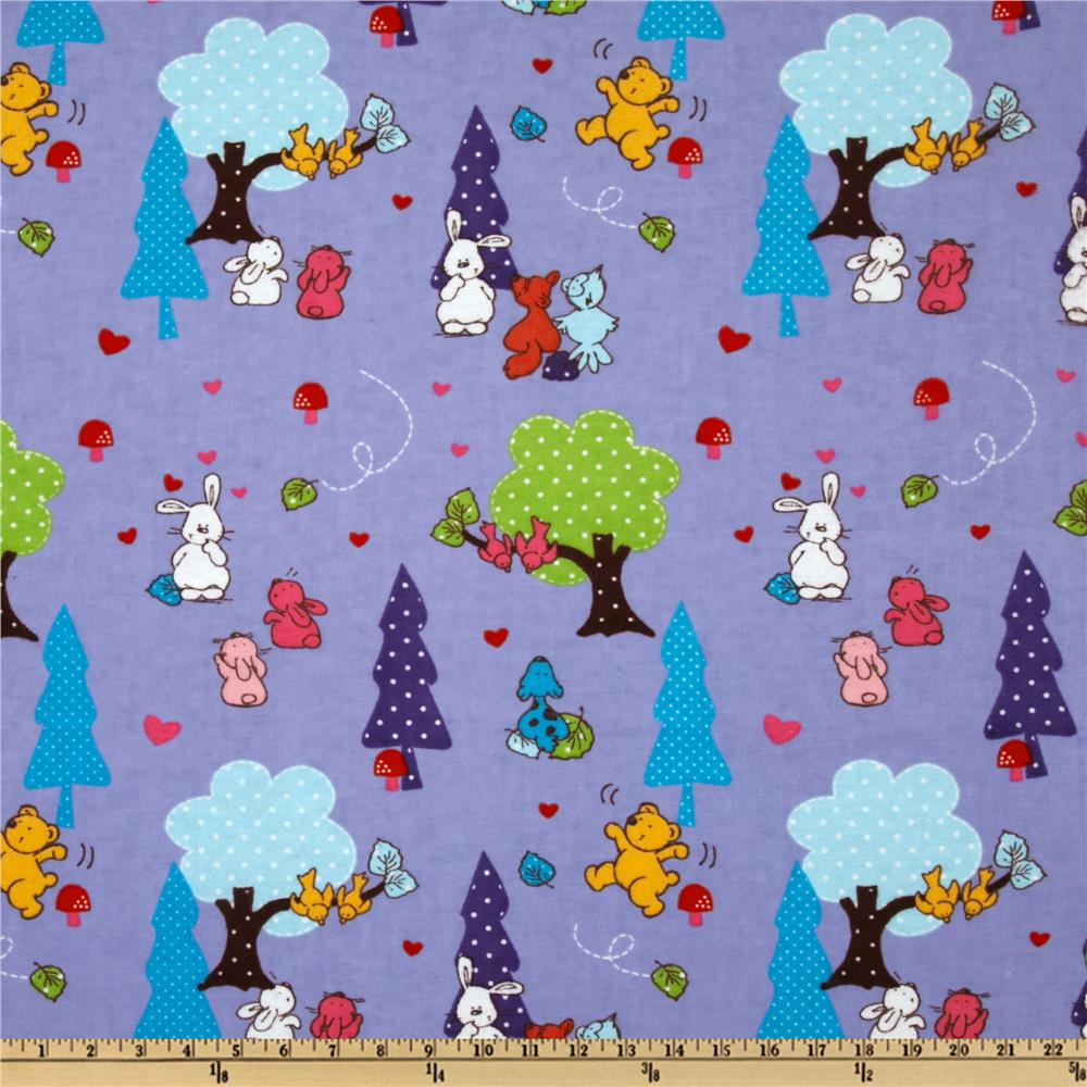 Camelot Flannel Forest Animals Purple