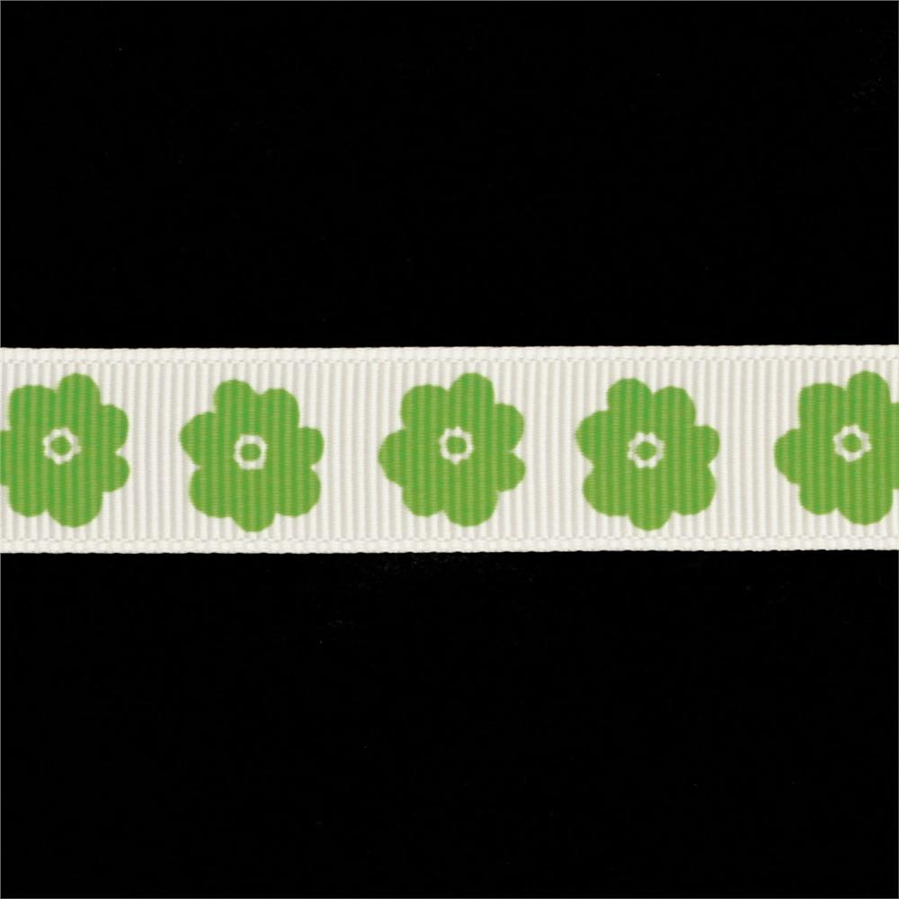 Riley Blake 5/8'' Grosgrain Ribbon Flower Lime