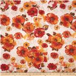 Designer Burnout French Terry Knit Flowers Orange