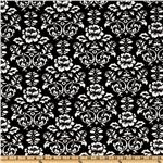 DW-141 Kaufman Minky Cuddle Victorian Damask Black/White