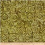 Indian Batik Floral Olive/Mustard