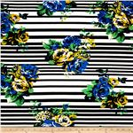 0278623 Designer Jersey Knit Stripe Flowers Blue