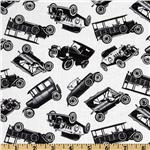 Antique Cars White/Black