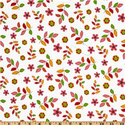 Bonny Bloom Flannel Leaves & Flowers White/Orange