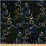 0279520 Scrollwork Scrolls & Flowers Black/Green/Blue
