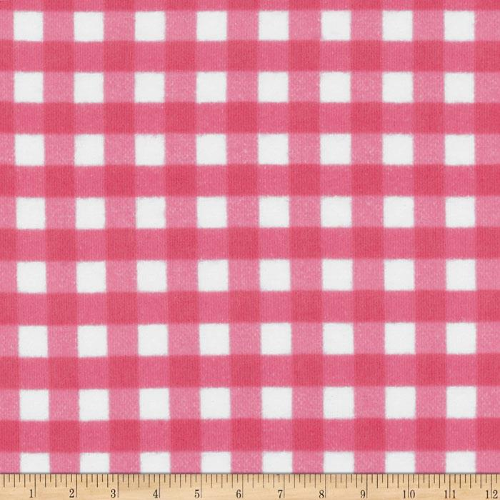 Riley Blake Flannel Basics Gingham Medium Hot Pink