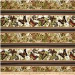 Timeless Treasures Butterfly Border Stripe Natural