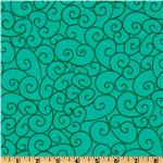 FC-330 Michael Miller Nordic Holiday Swirly Gig Turquoise
