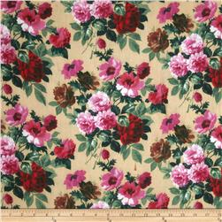 Cotton Lawn Bouquets Fuchsia/Tan